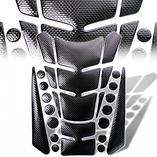 3D 13-Piece Custom Fuel  Gas Tank Pad Protector Decal  Sticker Black  Chromed Black