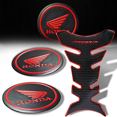 3D Pro Grip Red Trim Black Fuel Tank Pad  2pcs 2-18 Matte Black Red Honda Logo Sticker Emblem