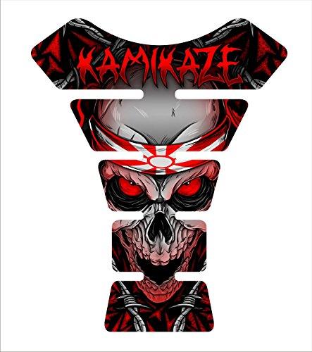 Size is 85 tall x 69 wide Kamikaze Red Skull Honda CBR Suzuki GSXR Kawasaki Ninja Yamaha YZF Triumph Daytona 675 Motorcycle Tank Pad tankpad Gel Protector