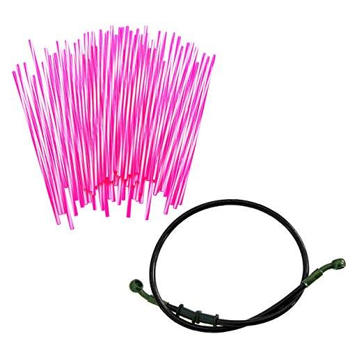 JRL 240mm Pink Wheel Spoke Wraps Skins Coat Trim Cover&80cm Black Fuel Line Motorcycle Motocross Dirt Bike