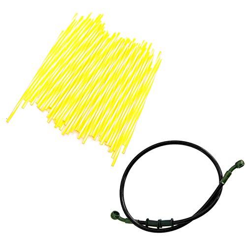 JRL 240mm Yellow Wheel Spoke Wraps Skins Coat Trim Cover&80cm Black Fuel Line Motorcycle Motocross Dirt Bike