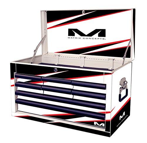 Matrix Concepts M80 801 M80 Race Series WhiteBlack 8 Drawer Tool Box with Bolt Graphic Kit