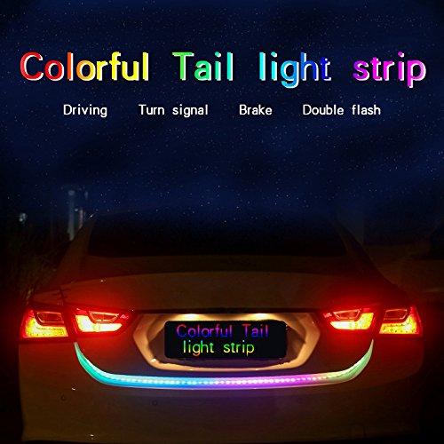Raoping 1 Set Car Light LED stripTail Light Drl Trunk Turn Signal Light Colorful Flash Waterproof Reverse Lamp Braking Light 12V 150cm Colorful