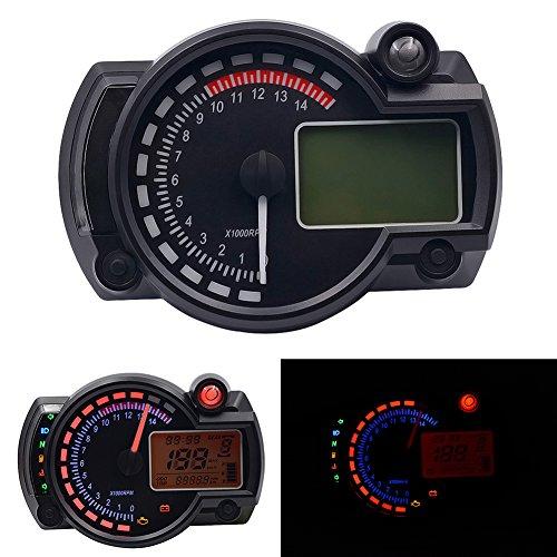 heaven2017 1000Rpm Motorcycle Gauge Digital LCD Backlight Motorcycle Speedometer Tachometer Odometer Black
