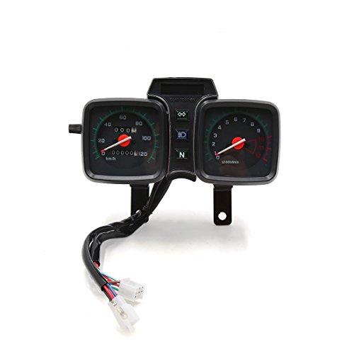 uxcell Dual Digital Motorcycle Odometer Tachometer Speedometer Oil Gauge for Suzuki GS125