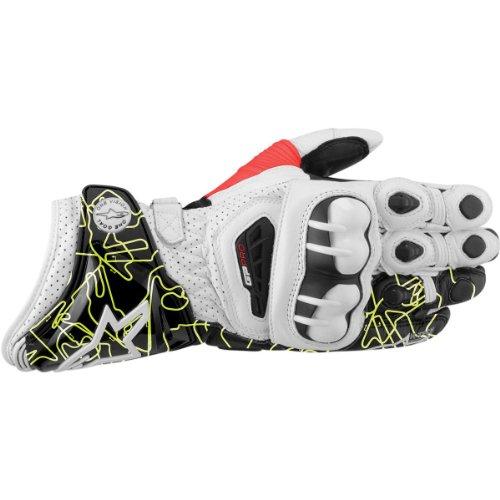 Alpinestars GP Pro Tracks Leather Gloves 2012 White Black Fluorescent Yellow MMedium