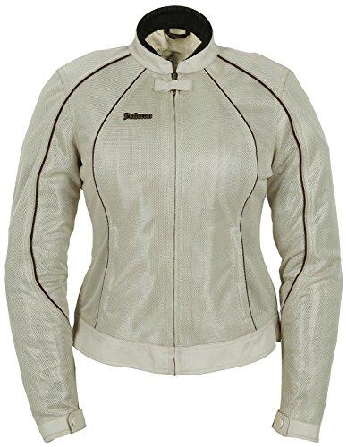 Pokerun Wild Annie Women's Textile Touring Motorcycle Jacket - Cream / Medium