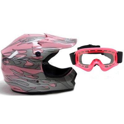 TMS Youth Kids Pink Dirt Bike ATV Motocross Helmet with Goggles Medium
