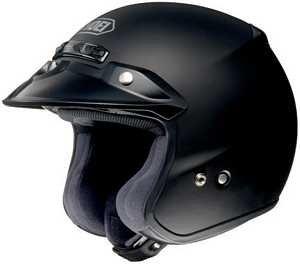 Shoei RJ Platinum R Open Face Motorcycle Helmet Matte Black LG