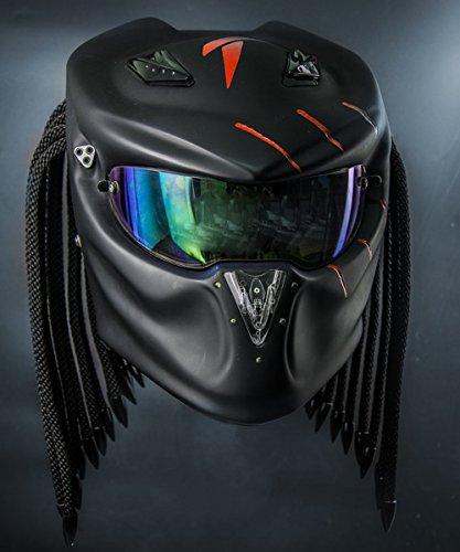 2017 Predator Motorcycle Helmet Matt Black Red Tri Laser Beam Free Spare Visor M