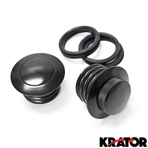 Krator® Dual Black Pop Up Gas Cap Vented Flush Fuel Tank For 1985 Harley Davidson Fxef Fat Bob