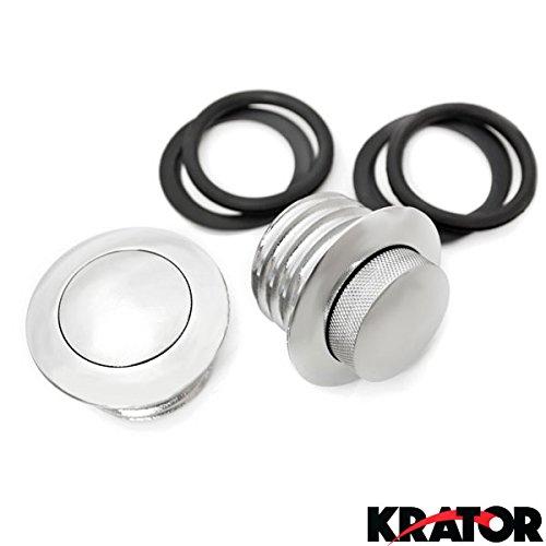 Krator® Dual Chrome Pop Up Flush Gas Cap Vented Fuel Tank For 1999-2007 Harley Davidson Fxst Softail Standard