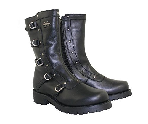 Xelement 2510 Womens Black Siren Strap Motorcycle Boots - 9 1/2