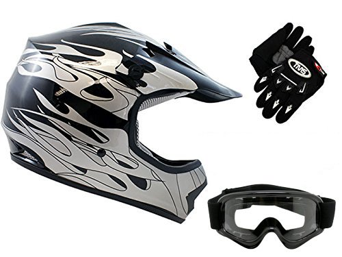 TMS Youth Kids Black Flame Dirtbike Off-Road ATV Motocross Helmet MXGogglesGloves Large