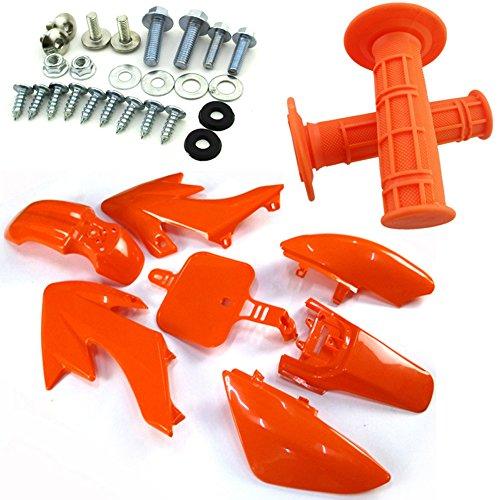 TC-Motor Orange Body Work Fender Fairing Kit Plastic Bolts Screws Kits Throttle Handle Grips For Pit Bike 50cc 70cc 90 110cc 125cc 150cc 160cc Honda Dirt Bike CRF50 XR50
