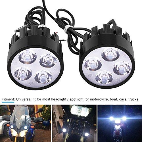 1 Pair Motorcycle LED Headlight Fog Light Spotlight Driving Auxiliary Light