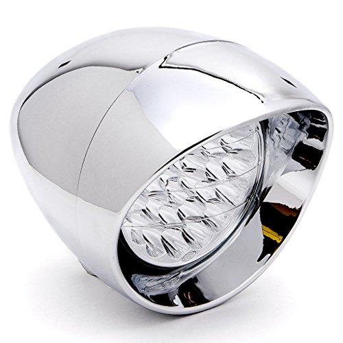 Krator 7 Chrome Motorcycle LED Headlight Metric Cruiser Head Light Daytime Running and Low Beam