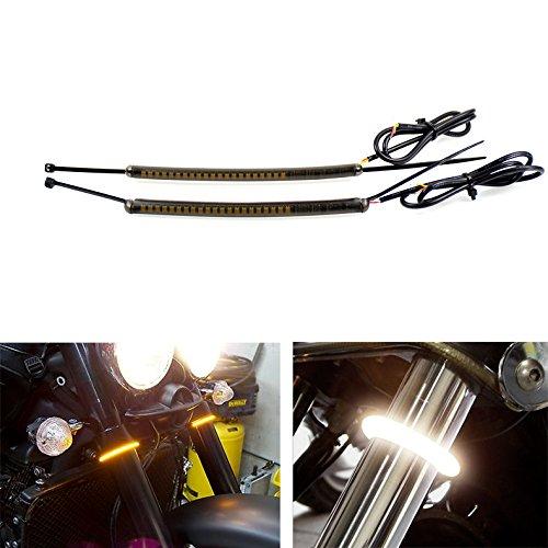 Motorcycle LED 39mm 41mm Fork Turn Signal Light Strip Kit w Smoked Lens