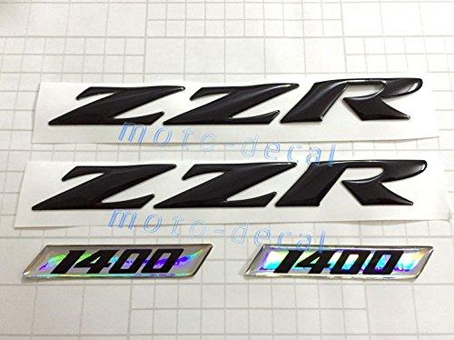 Decal Story 3D Emblem Sticker Decal Black Raise Up Polish Gloss For Kawasaki ZZR 1400