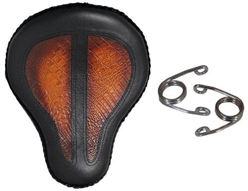 La Rosa 16 Harley-Davidson Chopper Bobber Black Leather Antique Alligator Design Inlay Solo Seat  Tension Spring Kit