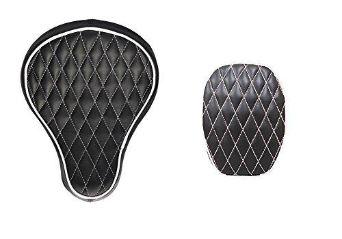 La Rosa Design Harley Chopper Bobber Seat  Passenger Pad Combo for 2004&UP Sportsters - Black w White Thread Diamond Tuk