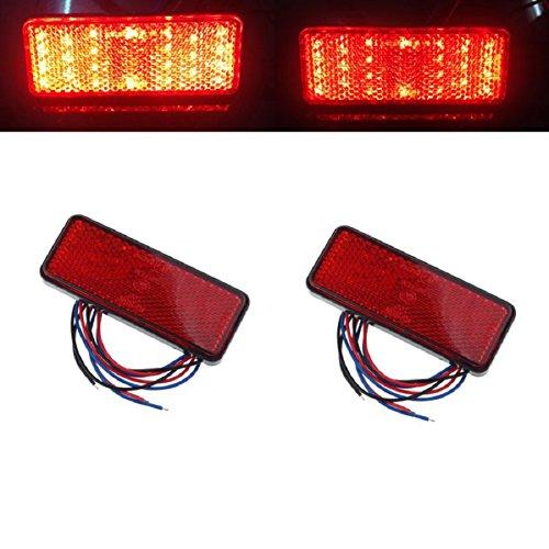Doinshop 2x Universal Car Red Lamp Bulb Atv Suv 12v Red 24 Led Stop Fog Tail Brake Light