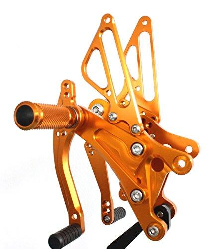 Gold Motorstar Motorcycle CNC Aluminum Billet Adjustable Rear Foot Pegs Rearsets fit for Yamaha YZF R1 2004 2005 2006