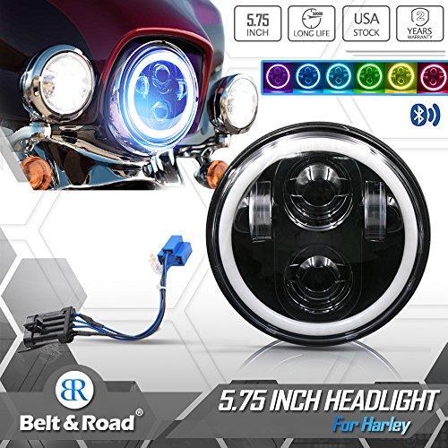Belt&Road 575 Inch RGB Halo LED Headlight for 2014 up-2018 Harley Davidson Street Bob Super Wide Glide Dyna Low Rider Night Rod Train Softail Controlled RGB Angel Eye-NEW VERSION
