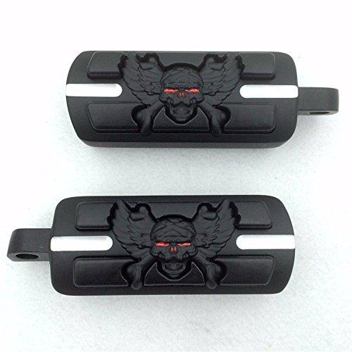 SMT Group Motorcycle Black Wing Skull Zombie Foot Pegs Footrest Kit For Harley Dyna Glide Fat Bob Street Bob