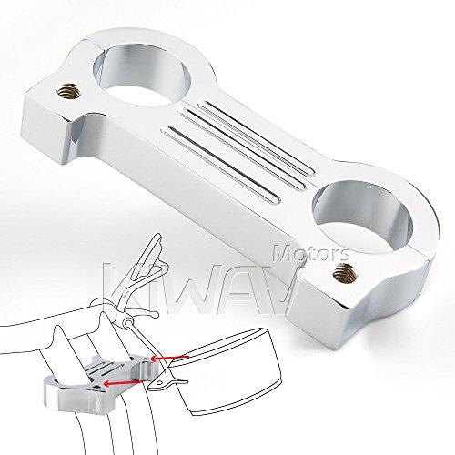 KiWAV billet aluminum chrome gauge mount adapter for Harley FXD XL T-bar 1-14