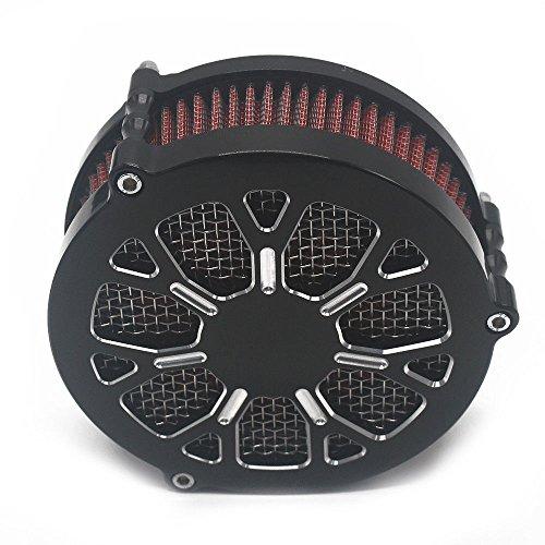 VBROS GLOSS BLACK HARD BILLET AIR CLEANER FILTER KIT FOR HARLEY FXD FLST FXST 2008-UP Black