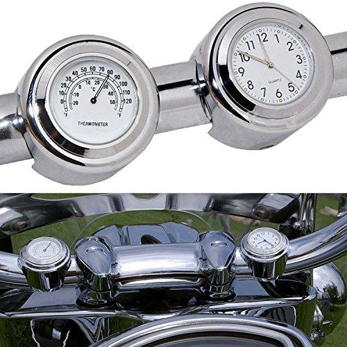Motorcycle Handlebar Clock Thermometer Waterproof Dial Noctilucent 78 and 1 Handlebar Mount for Yamaha Kawasaki Honda Suzuki Harley white