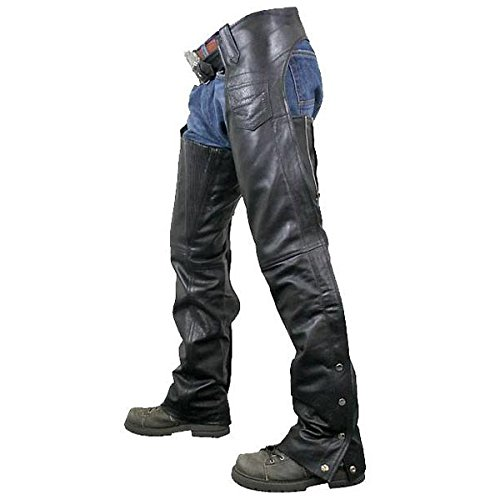 Xelement 7554 Mens Black Advanced Dual Comfort Leather Chaps - 44