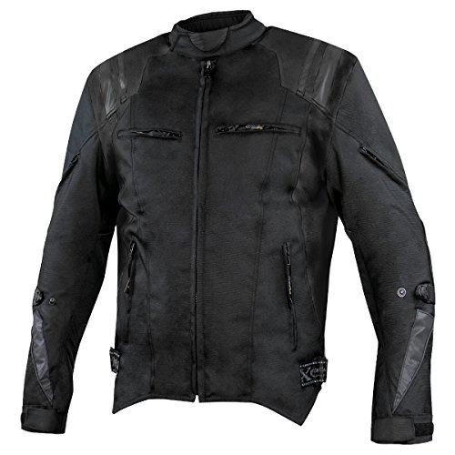 Xelement XS32202B Swift Mens Black Tri-Tex Armored Motorcycle Jacket - Large