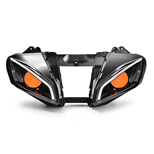 KT LED Optical Fiber Headlight Assembly for Yamaha R6 2006 2007 V2 Orange Demon Eye
