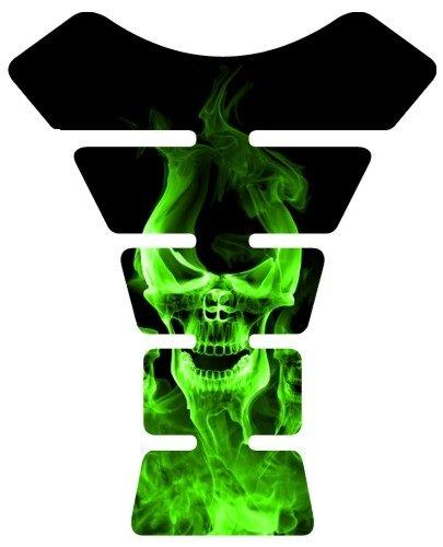 Motorcycle Smoke Skull Green Sportbike Gel Tank Pad Tankpad Protector Decal