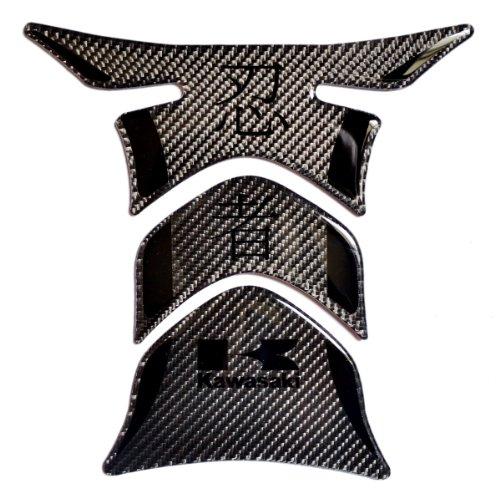 Kawasaki Ninja Stealth Effect Real Carbon Fiber With Kanji Tank Protector Pad Decal Sticker
