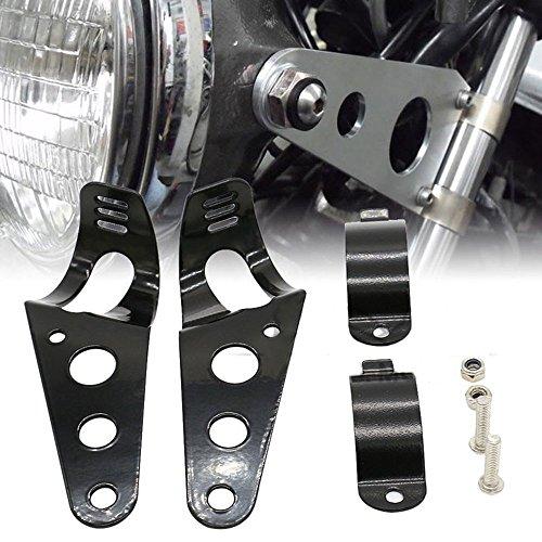 Frenshion 38-51mm Motorcycle Headlight Lamp Mount Fork Bracket Black Universal for Chopper Bobber Street Bike Cafe Racer Harley Davidson