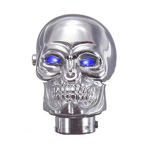 Gear Stick Shift Knob - SODIALR Universal Chrome Skull Car Manual Gear Stick Shift Shifter Knob Lever Blue LED