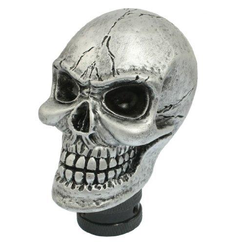 SODIALR Metal Skull Head Truck Car Gear Shift Knob  3 Plastic Connectors