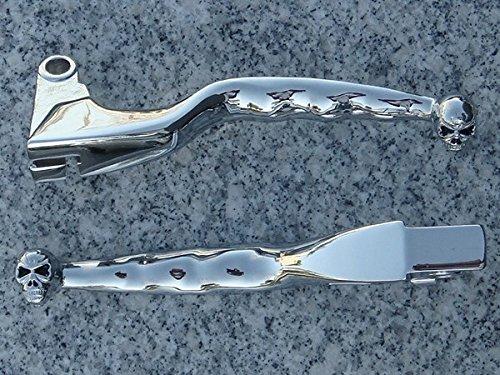 i5 Chrome Skull Front Brake Clutch Levers for Yamaha V-Star 650 1100 Classic Silverado