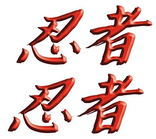 Kawasaki Ninja ZX10 ZX12 ZX14 ZX9 ZX6 600 1000 ZX6RR 250R 300 Ninja Kanji Decal sticker set Red