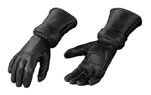 Motorcycle Biker Black Deer Skin Leather Winter Gauntlet Gloves With Zip Off Cuff Medium