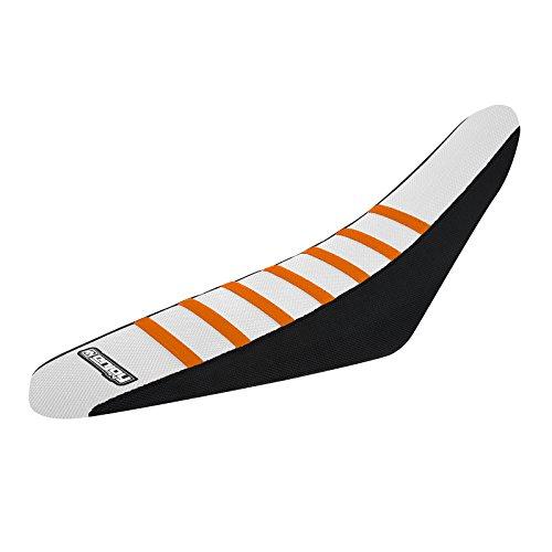Enjoy MFG 2013 - 2015 KTM SX - SXF 125  450 Black Sides  White Top  Orange Ribs - Team Seat Cover