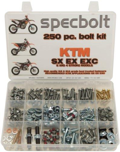 Specbolt Fasteners 250pc Maintenance Restoration OE Spec Motorcycle Bolt Kit for KTM SX EX EXC 2 Stroke 50 60 65 85 105 125 250 300 360 380 550 4 Stroke 250 350 400 450 500 520 525 530 620 640