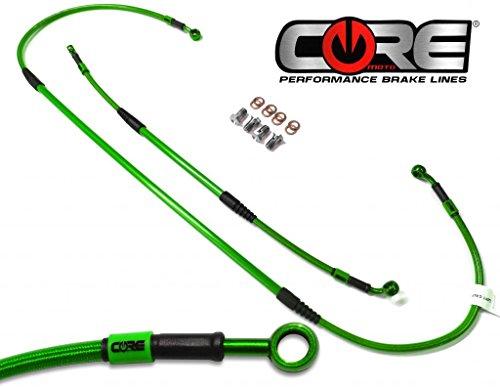 Core Moto - MX Brake Lines Combo Front and Rear Fits Kawasaki KX250F KX450F 2012-2015 - Translucent Green