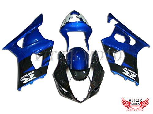 VITCIK Fairing Kits Fit for Suzuki GSXR1000 K3 2003 2004 GSXR 1000 GSX R1000 K3 03 04 Plastic ABS Injection Mold Complete Motorcycle Body Aftermarket Bodywork Frame Blue Black A028