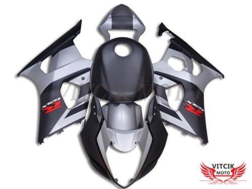VITCIK Fairing Kits Fit for Suzuki GSXR1000 K3 2003 2004 GSXR 1000 GSX R1000 K3 03 04 Plastic ABS Injection Mold Complete Motorcycle Body Aftermarket Bodywork Frame Silver Black A001