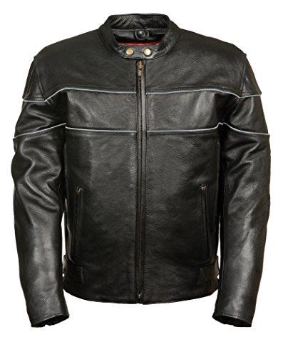 Milwaukee Mens 12 mm Premium Leather Vented Riding Jacket Black XX-Large