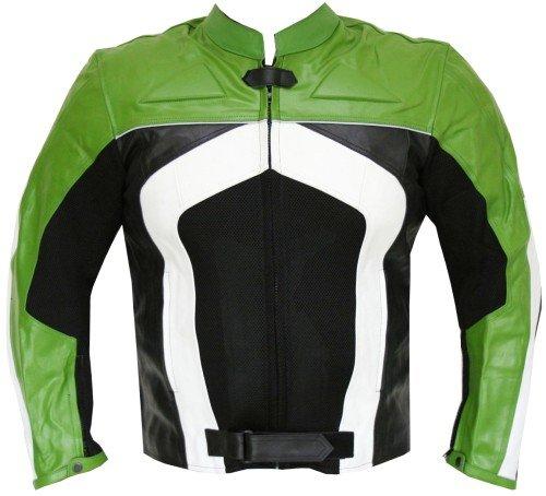 New Mens Razer Motorcycle Biker Armor Mesh Leather Green Riding Jacket XL
